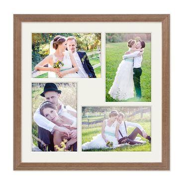 Fotocollage-Bilderrahmen 30x30 cm im Landhaus-Stil, Eiche-Optik, Collagerahmen, Bildergalerie-Rahmen für 4 Bilder, Wechselrahmen mit Passepartout