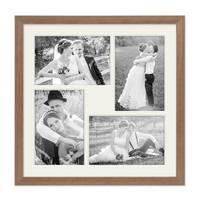 Fotocollage-Bilderrahmen 30x30 cm im Landhaus-Stil, Eiche-Optik, Collagerahmen, Bildergalerie-Rahmen für 4 Bilder, Wechselrahmen mit Passepartout – Bild 2