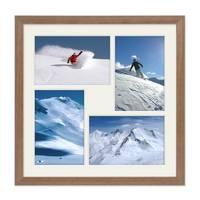 Fotocollage-Bilderrahmen 30x30 cm im Landhaus-Stil, Eiche-Optik, Collagerahmen, Bildergalerie-Rahmen für 4 Bilder, Wechselrahmen mit Passepartout – Bild 3