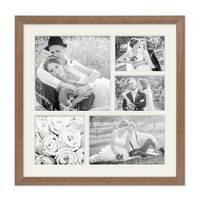 Fotocollage-Bilderrahmen 30x30 cm im Landhaus-Stil, Eiche-Optik, Collagerahmen, Bildergalerie-Rahmen für 5 Bilder, Wechselrahmen mit Passepartout – Bild 2