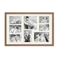 Fotocollage-Bilderrahmen 30x45 cm im Landhaus-Stil, Eiche-Optik, Collagerahmen, Bildergalerie-Rahmen für 8 Bilder, Wechselrahmen mit Passepartout – Bild 2