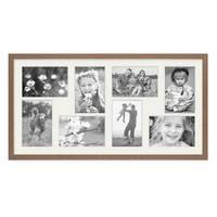Fotocollage-Bilderrahmen 30x60 cm im Landhaus-Stil, Eiche-Optik, Collagerahmen, Bildergalerie-Rahmen für 8 Bilder, Wechselrahmen mit Passepartout – Bild 2