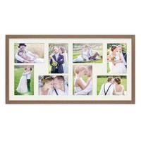 Fotocollage-Bilderrahmen 30x60 cm im Landhaus-Stil, Eiche-Optik, Collagerahmen, Bildergalerie-Rahmen für 8 Bilder, Wechselrahmen mit Passepartout – Bild 3