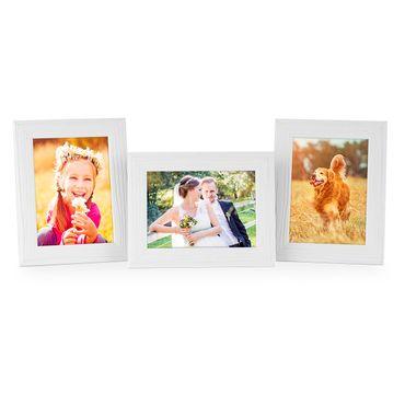 3er Set Bilderrahmen 10x15 cm Weiss Modern Massivholz-Rahmen mit Maserung mit Glasscheibe und Zubehör / zum Stellen oder Hängen / Fotorahmen