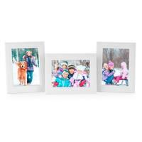 3er Set Bilderrahmen 13x18 cm Weiss Modern Massivholz-Rahmen mit Maserung mit Glasscheibe und Zubehör / zum Stellen oder Hängen / Fotorahmen  – Bild 1