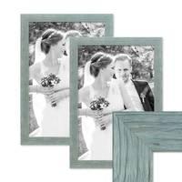 2er Bilderrahmen-Set 30x40 cm Strandhaus Rustikal Blau Massivholz mit Glasscheibe inkl. Zubehör / Fotorahmen  – Bild 1