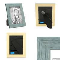 3er Bilderrahmen-Set 10x10 cm Strandhaus Rustikal Blau Massivholz mit Glasscheibe inkl. Zubehör / Fotorahmen  – Bild 2