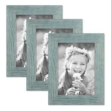 3er Bilderrahmen-Set 13x18 cm Strandhaus Rustikal Blau Massivholz mit Glasscheibe inkl. Zubehör / Fotorahmen