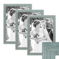 3er Bilderrahmen-Set 30x40 cm Strandhaus Rustikal Blau Massivholz mit Glasscheibe inkl. Zubehör / Fotorahmen  – Bild 1