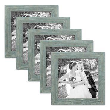 5er Bilderrahmen-Set 20x20 cm Strandhaus Rustikal Blau Massivholz mit Glasscheibe inkl. Zubehör / Fotorahmen