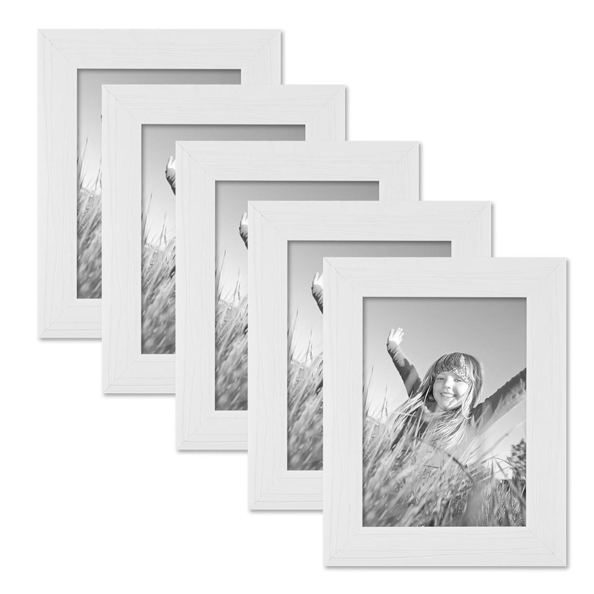 5er Set Bilderrahmen 13x18 cm Weiss Modern Massivholz-Rahmen mit ...