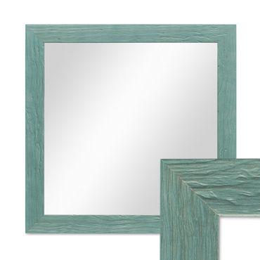 Wand-Spiegel 36x36 cm im Massivholz-Rahmen Strandhaus-Stil Rustikal Blau Quadratisch / Spiegelfläche 30x30 cm