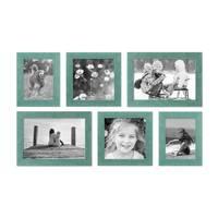 6er Bilderrahmen-Set 15x20, 20x20 und 20x30 cm Strandhaus Blau Rustikal Massivholz mit Glasscheibe, inkl. Zubehör, zur Gestaltung einer Bilderwand oder Fotowand / Fotorahmen