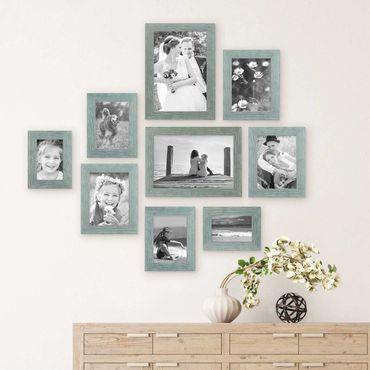 9er Bilderrahmen-Set Strandhaus Blau Rustikal Massivholz, 10x15 bis 20x30 cm, inkl. Zubehör, zur Gestaltung einer Bilderwand oder Fotowand / Fotorahmen