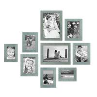 9er Bilderrahmen-Set Strandhaus Blau Rustikal Massivholz, 10x15 bis 20x30 cm, inkl. Zubehör, zur Gestaltung einer Bilderwand oder Fotowand / Fotorahmen   – Bild 2