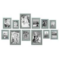 12er Bilderrahmen-Set Strandhaus Blau Rustikal Massivholz 10x15 bis 20x30 cm, inkl. Zubehör, zur Gestaltung einer Bilderwand oder Fotowand / Fotorahmen   – Bild 2