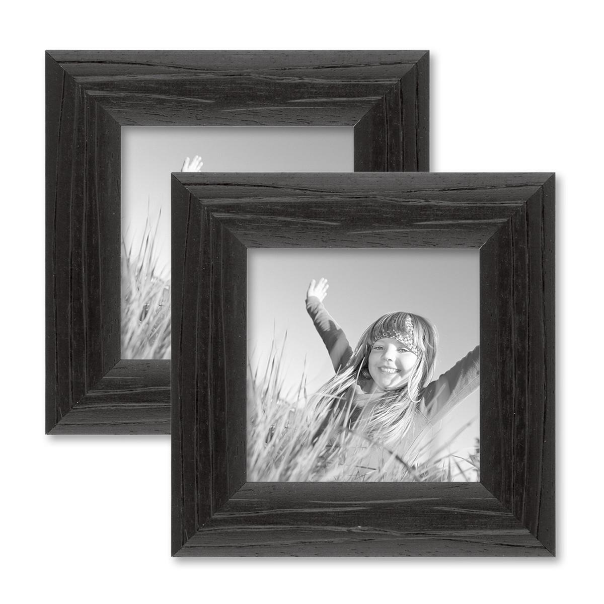2er set bilderrahmen 10x10 cm schwarz modern massivholz. Black Bedroom Furniture Sets. Home Design Ideas