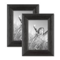 2er Set Bilderrahmen 10x15 cm Schwarz Modern Massivholz-Rahmen mit Maserung mit Glasscheibe und Zubehör / zum Stellen oder Hängen / Fotorahmen