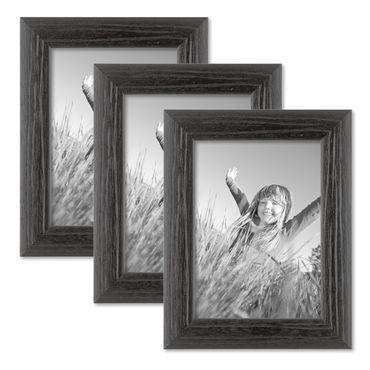 3er Set Bilderrahmen 13x18 cm Schwarz Modern Massivholz-Rahmen mit Maserung mit Glasscheibe und Zubehör / zum Stellen oder Hängen / Fotorahmen