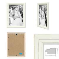 Bilderrahmen Landhaus-Stil Shabby-Chic Weiss 21x30 cm DIN A4 Massivholz / Fotorahmen / Portraitrahmen  – Bild 2