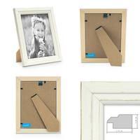 2er Bilderrahmen-Set Landhaus-Stil Shabby-Chic Weiss 10x15 cm Massivholz / Fotorahmen / Portraitrahmen  – Bild 2