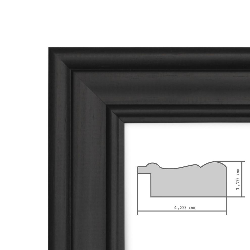 Wundervoll Bilderrahmen Klassisch Holz-Rahmen Breit Kolonialstil Schwarz  FS92