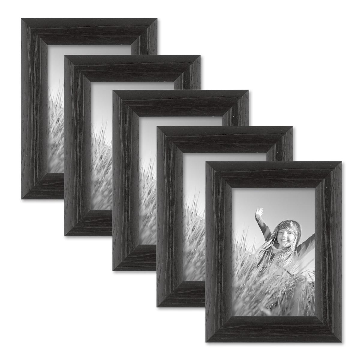 5er set bilderrahmen 10x15 cm schwarz modern massivholz. Black Bedroom Furniture Sets. Home Design Ideas