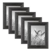 5er Set Bilderrahmen 13x18 cm Schwarz Modern Massivholz-Rahmen mit Maserung mit Glasscheibe und Zubehör / zum Stellen oder Hängen / Fotorahmen  – Bild 1