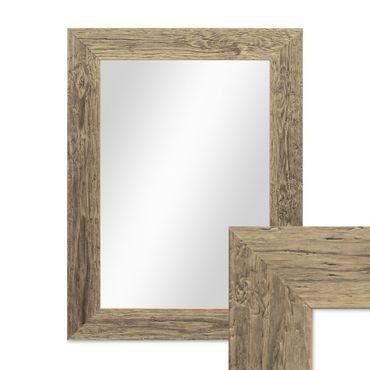 Wand-Spiegel 40x50 cm im Massivholz-Rahmen Strandhaus-Stil Breit Eiche-Optik Rustikal / Spiegelfläche 30x40 cm
