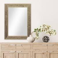 Wand-Spiegel 40x50 cm im Massivholz-Rahmen Strandhaus-Stil Breit Eiche-Optik Rustikal / Spiegelfläche 30x40 cm – Bild 2