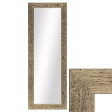 Wand-Spiegel 40x100 cm im Massivholz-Rahmen Strandhaus-Stil Breit Eiche-Optik Rustikal / Spiegelfläche 30x90 cm