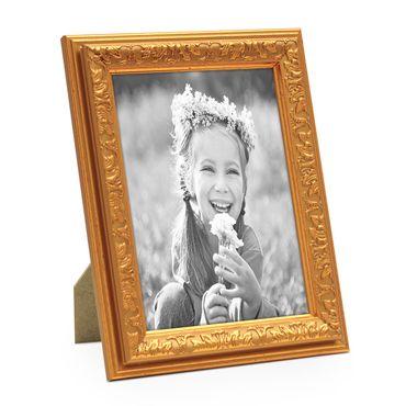 Bilderrahmen Antik Gold Nostalgie 10x15 cm Fotorahmen mit Glasscheibe / Kunststoff-Rahmen