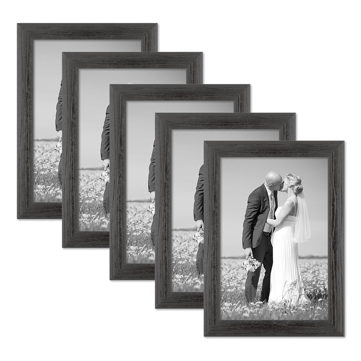 5er set bilderrahmen 21x30 cm din a4 schwarz modern massivholz rahmen mit maserung mit. Black Bedroom Furniture Sets. Home Design Ideas