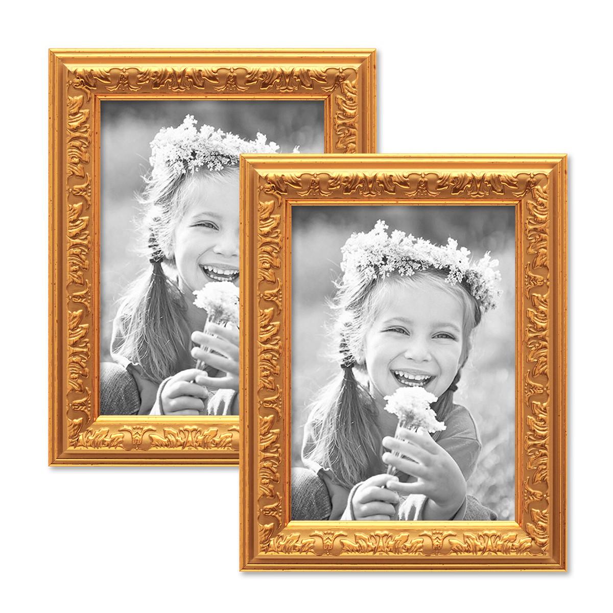 2er Set Bilderrahmen Antik Gold Nostalgie 10x15 cm Fotorahmen mit ...