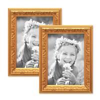 2er Set Bilderrahmen Antik Gold Nostalgie 10x15 cm Fotorahmen mit Glasscheibe / Kunststoff-Rahmen – Bild 1