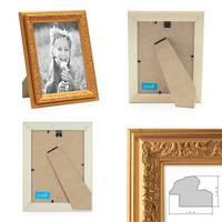 2er Set Bilderrahmen Antik Gold Nostalgie 10x15 cm Fotorahmen mit Glasscheibe / Kunststoff-Rahmen – Bild 2