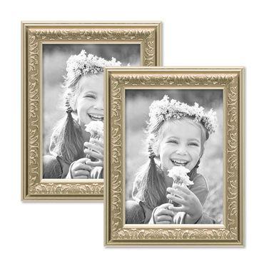 2er Set Bilderrahmen Antik Silber Nostalgie 10x15 cm Fotorahmen mit Glasscheibe / Kunststoff-Rahmen