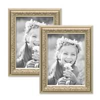 2er Set Bilderrahmen Antik Silber Nostalgie 13x18 cm Fotorahmen mit Glasscheibe / Kunststoff-Rahmen