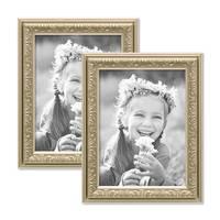 2er Set Bilderrahmen Antik Silber Nostalgie 15x20 cm Fotorahmen mit Glasscheibe / Kunststoff-Rahmen – Bild 1