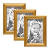3er Bilderrahmen-Set Gold Barock Antik 10x15 cm Fotorahmen mit Glasscheibe