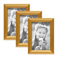 3er Set Bilderrahmen Gold Barock Antik 10x15 cm Fotorahmen mit Glasscheibe / Kunststoffrahmen