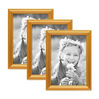 3er Set Bilderrahmen Gold Barock Antik 13x18 cm Fotorahmen mit Glasscheibe / Kunststoffrahmen