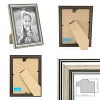 3er Set Bilderrahmen Silber Barock Antik 10x15 cm Fotorahmen mit Glasscheibe / Kunststoffrahmen – Bild 3