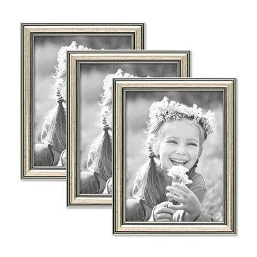 3er Set Bilderrahmen Silber Barock Antik 15x20 cm Fotorahmen mit Glasscheibe / Kunststoffrahmen