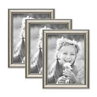 3er Set Bilderrahmen Silber Barock Antik 15x20 cm Fotorahmen mit Glasscheibe / Kunststoffrahmen – Bild 1