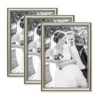 3er Bilderrahmen-Set Silber Barock Antik 21x30 cm DIN A4 Fotorahmen