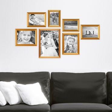 7er Bilderrahmen-Set Gold Barock Antik aus Kunststoff inklusive Zubehör / Bildergalerie / Foto-Collage