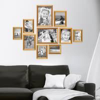 10er Bilderrahmen-Set Gold Barock Antik aus Kunststoff inklusive Zubehör / Bildergalerie / Foto-Collage – Bild 1