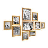 10er Bilderrahmen-Set Gold Barock Antik aus Kunststoff inklusive Zubehör / Bildergalerie / Foto-Collage