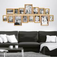 15er Bilderrahmen-Set Gold Barock Antik aus Kunststoff inklusive Zubehör / Bildergalerie / Foto-Collage